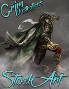 Premium Fantasy Stock Art - Warrior #8 (black dragonborn)