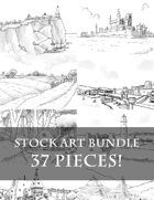 Fantasy Sketches - 37 Fantasy Stock Art Images - Towns, Cities, Ports, Lighthouses, Caves, Farms, Villages, and more!