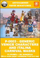 P-0003 -GENERIC VENICE CHARACTERS AND ITALIAN CARNIVAL MASKS