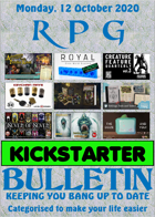 RPG Kickstarter Bulletin 12th October 2020