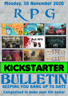 RPG Kickstarter Bulletin 30th November 2020