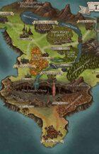 """The Isle of Ithaka"" Island Continent Landscape Map"