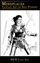 Line Art, Female Warrior in chain mail