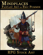 Gnome Warrior with Fox Stock Art