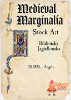 Medieval Marginalia - Illuminated Capital I with Angels- STOCK ART