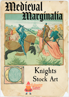 Medieval Marginalia - Knights at Tourney - STOCK ART