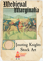 Medieval Marginalia - Jousting Knights - STOCK ART
