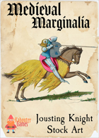 Medieval Marginalia - Knight on Horseback - STOCK ART