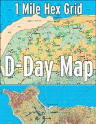 D-Day Map with 1 Mile Hex Grid