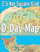 D-Day Map with 2.5 Km Square Grid
