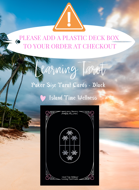 Island Time Wellness POKER SIZE Learning Tarot Cards | Black | Palm Backs | ADD A CLEAR PLASTIC DECK BOX TO THE ORDER AT CHECKOUT PLEASE :) - Palms Back