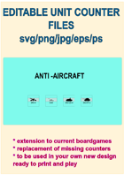 EDITABLE  COLDWAR ERA AA ARTILLERY Unit Counters for replacement and extension of your own boardgames