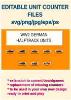 EDITABLE VECTOR GRAPHIC WW2 GERMAN HALFTRACK UNIT Counters for replacement and extension of your own boardgames