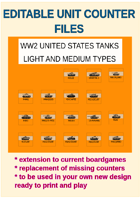 EDITABLE VECTOR GRAPHIC WW2 US LT AND MDM TANK Unit Counters for replacement and extension of your own boardgames