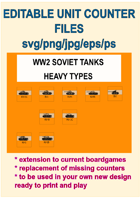 EDITABLE VECTOR GRAPHIC WW2 SOVIET HVY TANK  UNITS Counters for replacement and extension of your own boardgames