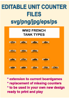 EDITABLE VECTOR GRAPHIC WW2 FRENCH TANK Unit Counters for replacement and extension of your own boardgames
