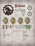 Vulcania The Role-Playing Game Character Sheet