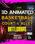 Animated Cyberpunk Basketball Court 3D