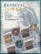 Medieval Tower Battle Map Full Four-Map Set with Roof Maps