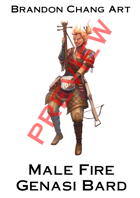 Fantasy Character Stock Art: Male Fire Genasi Bard
