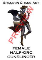 Fantasy Character Stock Art: Female Half-Orc Gunslinger