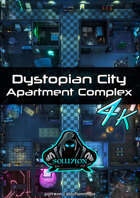 Dystopian City Apartment Complex 4k - Cyberpunk Animated Battle Map