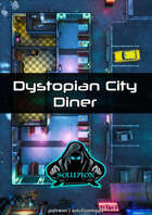 Dystopian City Diner 1080p - Cyberpunk Animated Battle Map