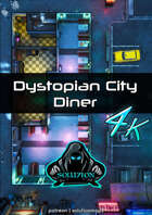 Dystopian City Diner 4k - Cyberpunk Animated Battle Map