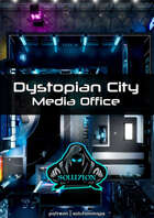 Dystopian City Media Office 1080p - Cyberpunk Animated Battle Map