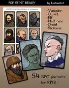 NPC Portraits Print and Play RPG