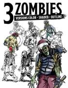 Three Zombies Stock Art