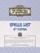 Koryo Hall of Adventures Spells List - 5e