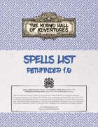 Koryo Hall of Adventures Spells List - Pathfinder 1.0