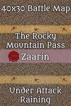 40x30 Fantasy Battle Map - The Rocky Mountain Pass - Under Attack - Raining