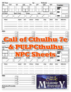 Call of Cthulhu 7e & Pulp NPC Sheets
