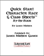 Quick Start Character Race & Class Sheets: BtB
