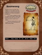 The Boomerang - One Sheet for Savage Worlds