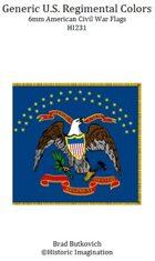 Generic U. S. Regimental Colors American Civil War 6mm Flag Sheet