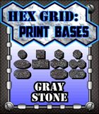 Hex Grid: Print Bases- Gray Stone