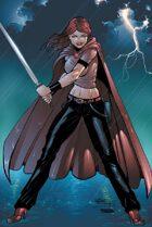 Scarlet Huntress rain print