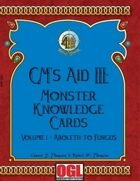 GM's Aid III: Monster Knowledge Cards Volume I - Aboleth to Fungus