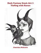 Dark Fantasy Stock Art 3: Tiefling with Raven