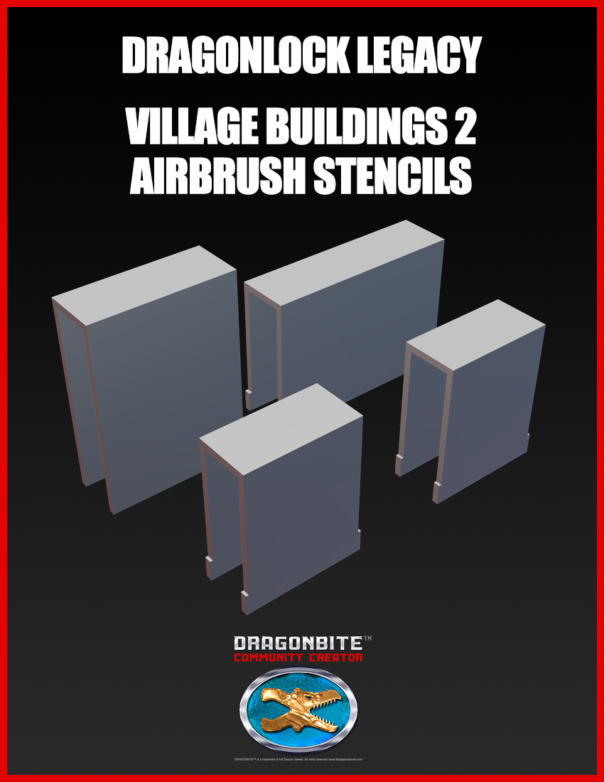 DRAGONLOCK Legacy Village Buildings 2 Airbrush Stencils