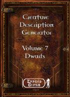 Creature Description Generator Volume 7 - Dwarf