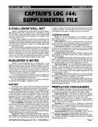 Captain's Log #44 Supplement