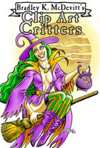 Clipart Critters 439 - Happy Witch