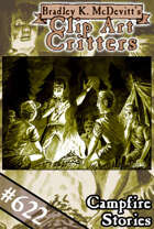 Clipart Critters 622-Campfire Stories