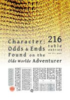 Character: Odds & Ends Found on the Olde Worlde Adventurer