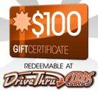 DriveThruCards $100 Gift Certificate/Account Deposit