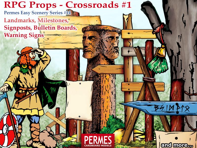 PERMES Easy Scenery #14: RPG Props - Crossroads - Landmarks, Milestones, Signposts - preview1
